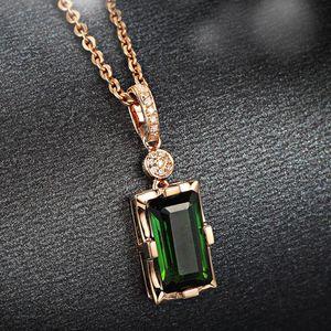 14K Rose Gold pingente de diamante Natural Emerald Necklace retângulo azul por Mulheres Peridot biżuteria Gemstone Jade Jóias Pendant