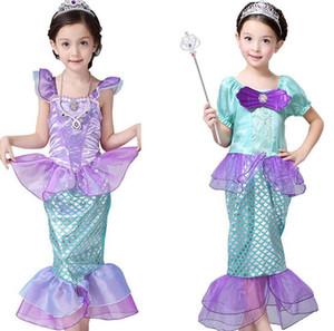 Los trajes de las niñas Sirenita princesa vestido de cosplay para niños niña sirena vestido de los niños de Halloween Ropa sirena vestido 3stylesLJJK2027