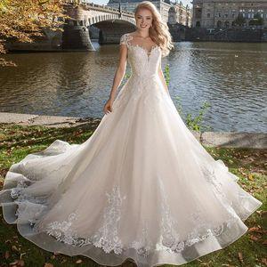 2020 Luz Champagne Boho vestidos de noiva Jewel Lace Satin vestidos de noiva botão Back Beach vestido mangas A-Line Wedding Robe De Mariee
