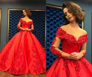2020 Red Prom Dresses Lace Floral Appliques Beaded Off The Shoulder A Line Ball Gown Long Sleeve Evening Dress Formal Party Gowns Plus Size