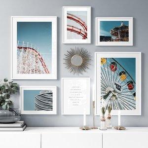 Oyun Alanı Ferris Wheel Merry-Go-Round Duvar Sanat Baskı Tuval Boyama Nordic Posterler Ve Baskılar Oturma Odası Için Duvar Resimleri