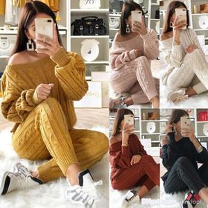 Женская одежда спортивные костюмы осень и зима мода сплошной цвет костюм свитер с брюками 2 шт комплект спортивные костюмы