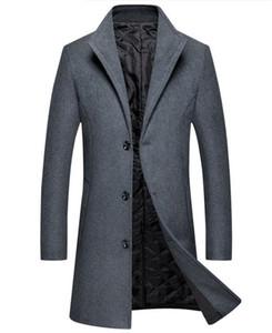 Şık Tasarımcı Erkek Yün Veste Katı Homme İnce Tek Meme Palto Erkek Yaka sıcak bir kaplama Standı