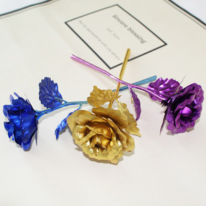 Romántico chapado en 24K Golden Rose Flower Lámina de oro plateado Artificial Wedding Festive Party Valentine Day Gift EEA316