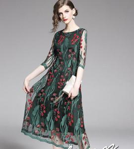 красный Флора зеленый лист вышивки черные женские платья женские летние повседневные платья выше колена юбки-Line с коротким рукавом
