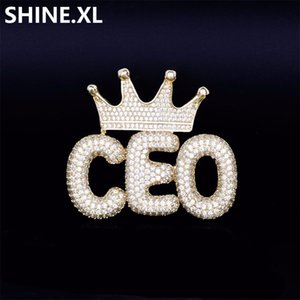 NBABuyer Iced Out Custom Crown Small Bubble Letter Pendant Necklace Micro Paved Zircon Men Hip Hop Bling Jewelry Gift Free Shipping