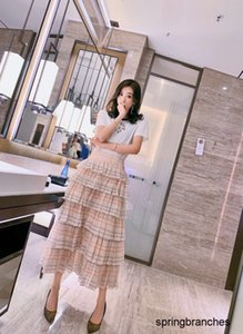 New 2020 fashion leisure goddess friend high waist thin cake skirt mini-Plaid half skirt 040503