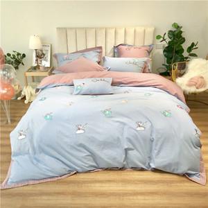 cama frete grátis define desenhos animados estilo bonito tecido de algodão lavado três peças de quatro peças de algodão penteado conjunto de cama bordados infantil