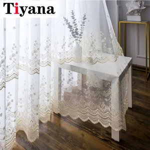 Tiyana Rustic Embroidery Floral Sheer Curtains for Living Room Flower Voile Window Treatment Drapery for French Door JK018Y