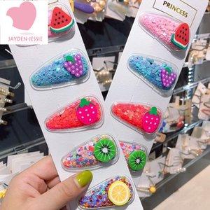 New color quicksand transparent children cute hairpin fruit PVC side clip BB side clip party wild headgear