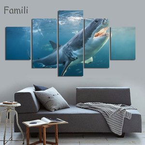 Modern simple 5 piece canvas art no frame wall art big shark Multigang adornment picture decorative pictures Printing