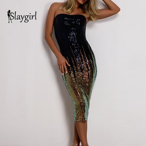 Slaygirl 2019 Sequin Strapless Sexy Dress Women Bodycon Summer Party Dress Elegant Lady Hollow Out Midi Dress Club New Vestidos