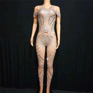 E24 dança de salão bodysuit feminino stage pole trajes de dança prom macacão roupas de strass vestir acrobacia vestido dj veste vestidos de ioga