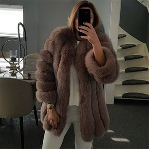 FURSARCAR 2019 hiver réel fourrure femmes Manteaux Vestes d'origine Femme fourrure naturelle 75 CM Manteau de haute qualité à long O-Neck
