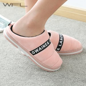WFL Womens Shoes 2019 New Home Men and Women Couple Indoor Warm Winter House Slippers Soft Non-slip Sole Cotton Women Slippers Y200706