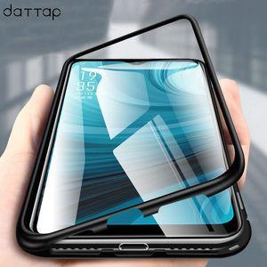 Toptan Manyetik Adsorpsiyon Telefon Kılıfı Için OPPO AX7 A7 Mıknatıs Metal Çerçeve Şeffaf Temperli Cam Kapak Için OPPO A7 Durumlarda Çapa