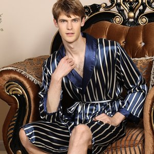 QWEEK Erkek Bornoz İpek Kimono Uzun Kollu Robe Çizgili Pijama Erkekler geceliğini 2020 Bathrobesummer Erkekler Homewear