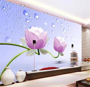 벽 승진을위한 꽃 벽지 중국 패션 연꽃 Dewdrop 3D TV 배경 벽 장식 Wall paper Beautifully Wallpaper