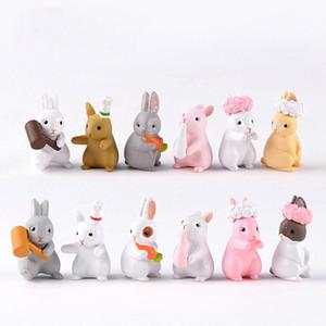 24 adet Güzel Tavşanlar Hayvan Oyuncak Minyatür Figürinleri Playset, Paskalya Fariy Bahçe Backyards Dekorasyon Mikro Peyzaj Kek Topper Süsleme