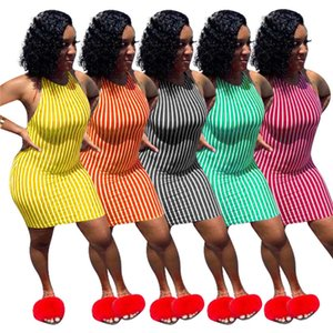Women summer sexy dresses striped print sleeveless dresses bandage backless crew neck S-2XL stretch spaghetti strap casual clothes DHL 3403