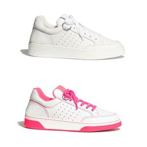 2020 Nova Mulheres bezerro Trainers Moda Branco Fuchsia retalhos Cores couro genuíno Sneaker Partido Meninas Lace-up Running Shoes com caixa