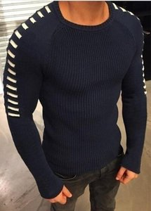 Slim Long Mens Autumn O-neck Fashion Hollow Sweaters O-neck Fit Designer Sleeved Tops Bobnj
