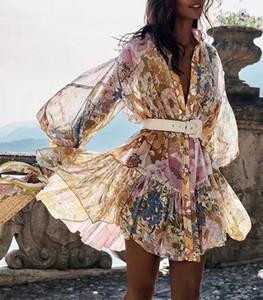 V-Ausschnitt Metallic-Schwarz-Leopard-Kleid-lange Hülsen-Minikleid beflockt sexy Frauenqualität 2020 Schwarz-Kleider Heißer Verkauf 2020 neue Frühlings-Kleid