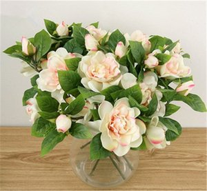 Flores al por mayor 10PCS decorativo artificial Slik Flores Gardenia para Suministros deshierbe Inicio Festival decorativo Partido Coronas