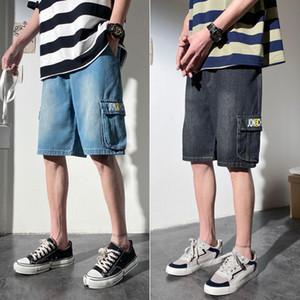 Mens Tooling Shorts Verão solto bolso Moda Verão Denim Shorts Homme Calças Casual
