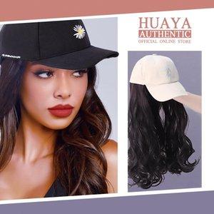 Collegamento ondulato lungo naturale Huaya cappello di baseball parrucca Cappello donna Parrucche fibra termoresistente quotidiano False capelli