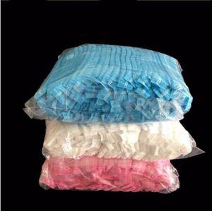 100PCS cinta doble no tejidas desechables gorros de ducha plisado del polvo anti Sombrero hombres de las mujeres de baño para Hair Spa Salon de belleza accesorios