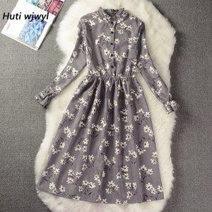 Corduroy High Elastic Waist Vintage Dress A-line Style Women Full Sleeve Flower Plaid Print Dresses Slim Spring Dress 18 Colors