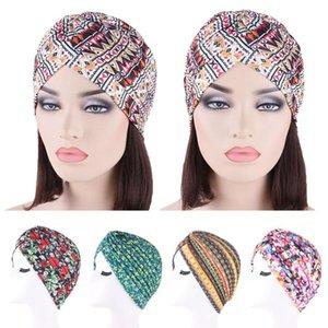 India Hat Women Pleated Cancer Hat Chemo Cap Muslim Hair Loss Head Scarf Wrap Turban Printed Islamic Arab Bonnet Beanie Skullies