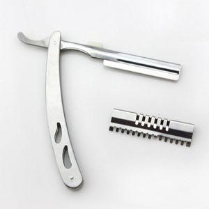 Stainless Steel Professional Unisex Portable Razor Sharp Durable Haircut Knife Men Comfortable Silver Manual Shaver Razors DH0849 T03