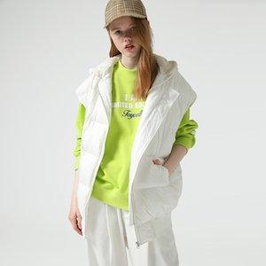 Kadın Kabanlar Kolsuz Coats Kalınlaşmak Kapşonlu Veste Femme Casual Katı Kış Beyaz Aşağı Ördek Jacket Toyouth