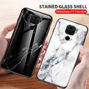 Para Xiaomi redmi Nota 9 pro Max telemóvel caso Nota 9s 9A 9C padrão de mármore anti-queda caixa do telefone Designer de vidro temperado