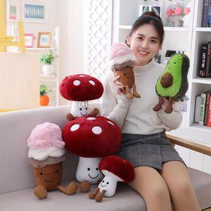 2019 Nuovo creativo del gelato di avocado peluche Giocattoli per bambini su misura Mushroom Doll Stuffed Animals fumetto creativo frutta Bambole DHL