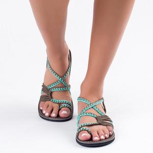 Nova moda de luxo Gladiator Sandals Mulheres sapatos abertos Toe Summer Beach Sandals Senhoras Plano Sandles Sandalias Mujer 2019 Y200405