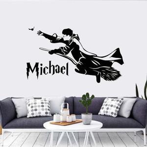 해리 마법 포터 벽 스티커 개인 이름 벽 데칼 사용자 이름 어린이 방 장식 소년 침실 매직 아트 벽화 DIY