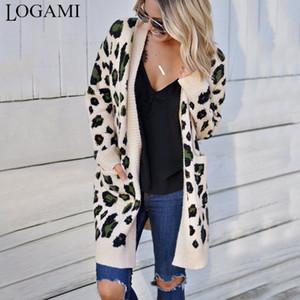 LOGAMI Lange Leopard Strickjacke Frauen Langarm-Herbst-Winter-Pullover Fashion 2019 Frauen Mantel
