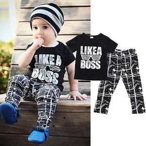 Canis Like the Boss Симпатичные дети малышей Baby Baby Костюмы Одежда черная футболка топы + брюки брюки 2шт Летняя мода набор