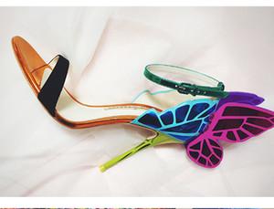 Hot Sale-Sophia Webster Chiara sandalias de cuero azul de la mariposa de varios zapatos de cuero de zapatos de cuero genuino azul sandalias de zapatos de tacón de verano