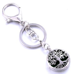 Fashion Jewelry Key Chains Tree of Life Aromatherapy Perfume Locket Keychain Essential Oil Diffuser Scent Key Chain Keyring Christmas Gift