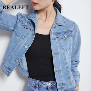 REALEFT 2020 New Autumn Winter Jeans Jacket and Coats for Women Candy Color Long Sleeve Casual Short Denim Jacket Female