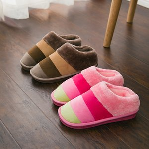 Winter Home Furry Slippers Men Shoes Indoor Keep Warm Short Plush Unisex Couple Slippers Striped Pattern Comfortable Slide