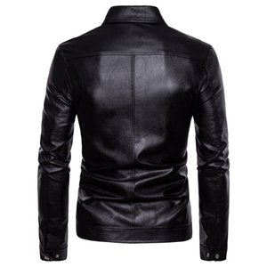 Men Autumn New Style Europe And America Washing Locomotive Leather Coat PU Leather Jacket Men's Solid Color Fashion Turn-down Co