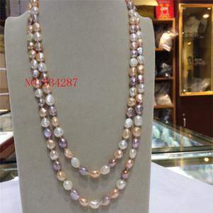 NEW natürliche Frischwasserperlen 8-9 mm Barlow unregelmäßig weiß, rosa, lila Halskette 48 Zoll