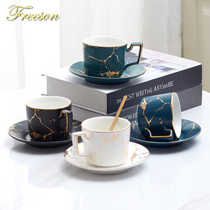 Ceramic Marble Coffee Cup Set Colher Saucer 200ml Nordic Tea Cup Matt porcelana Tea Set Avançada Teacup Cafe Espresso Cup