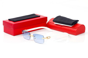 Los nuevos deportes de la moda sin montura gafas de sol del metal del oro de madera Sun gafas de moda para mujer para hombre leopardo Buffalo Glasses la mejor calidad con gafas Cajas