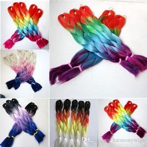 Ein Kanekalon synthetische flechten Senegalese Twist 24inch 100g Ombre drei Tonfarbe xpression Jumbo Braid Haarverlängerungen 6 Farben Optio